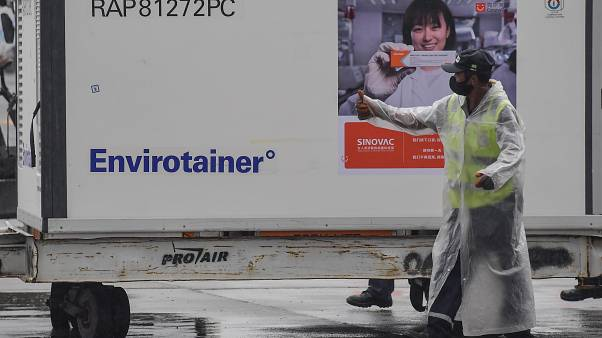 A container carrying doses of the CoronaVac vaccine is unloaded from a cargo plane that arrived from China at Guarulhos International Airport, near Sao Paulo.
