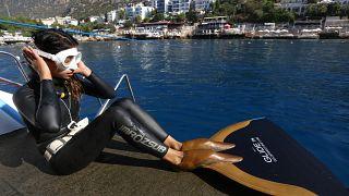 Milli serbest dalış sporcusu Fatma Uruk'tan üç günde üç rekor