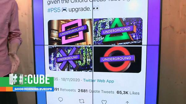 New promotional signs at Oxford Circus Underground station in London