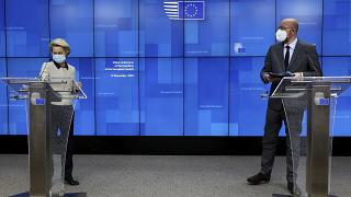 EU Summit video conference at the European Council building in Brussels, Thursday, Nov. 19, 2020.