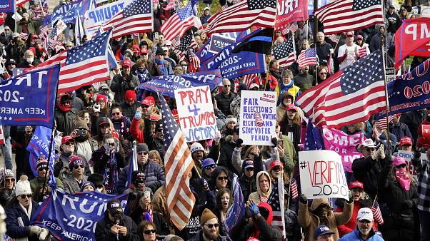 President Trump supporters rally at the Capitol building in Lansing, Michigan, Saturday, Nov. 14, 2020.