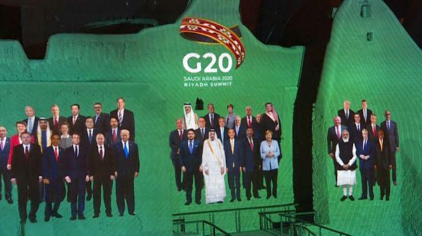 Los líderes del G20 en un montaje para recrear la tradicional foto del grupo.