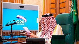 Rei Salman, da Arábia Saudita, numa videoconferência do G20 em março deste ano
