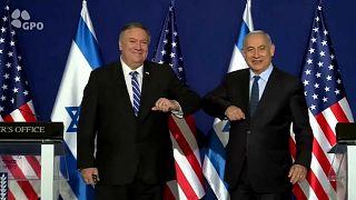 بنيامين نتنياهو رئيس وزراء إسرائيل ووزير الحاريجية الأمريكي مايك بومبيو في ختام مؤتمر صحفي أثناء جولة بومبيو الوداعية 19.11.20