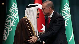 صورة أرشيفية للقاء سابق بين إردوغان والملك سلمان