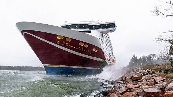 Viking Line cruise ship Viking Grace, run aground with passengers on board, south of Mariehamn, Finland, Saturday, November 21, 2020.