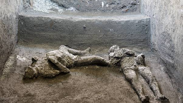 The casts of what are believed to have been a rich man and his male slave fleeing the volcanic eruption of Vesuvius nearly 2,000 years ago.