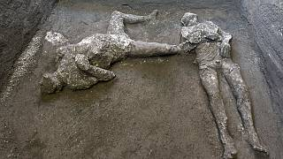 The casts of what are believed to have been a rich man and his male slave fleeing the volcanic eruption of Vesuvius