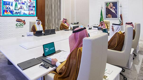 Saudi King Salman bin Abdulaziz Al-Saud delivering the opening address, at the G20 summit held virtually.