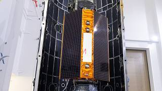 In this Nov. 3, 2020 photo, provide by the European Space Agency, the Sentinel-6 satellite is placed inside the upper stage of a Falcon 9 rocket.