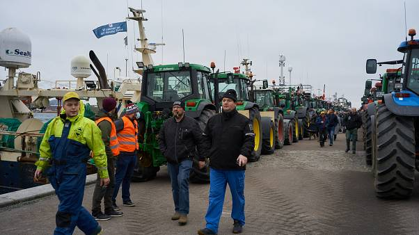 Hundreds of Danish farmers and fishermen demonstrate with tractors against a government decision to cull their minks to halt the spread of a coronavirus variant.