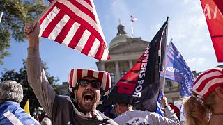 Supporters of President Donald Trump during a rally outside of the Georgia State Capitol in Atlanta on Saturday, November 21, 2020.