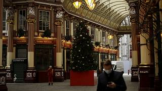 A Christmas tree stands on display in the middle of Leadenhall Market where all the non-essential shops are temporarily closed, during England's second coronavirus lockdown.