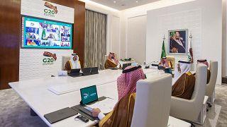 Detalle de la cumbre virtual del G20 presidida por Arabia Saudí