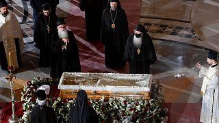 Covid-19 nedeniyle hayatını kaybeden Sırp Ortodoks Kilisesi (SPC) Patriği Irinej için başkent Belgrad'daki Aziz Sava Kilisesi'nde cenaze töreni düzenlendi.