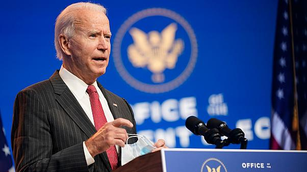 In this Nov. 19, 2020, file photo President-elect Joe Biden speaks at The Queen theater in Wilmington, Delaware, US