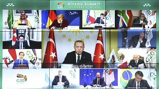 President Recep Tayyip Erdogan addresses the virtual G20 Summit in a video conference from Istanbul, Nov. 22, 2020.