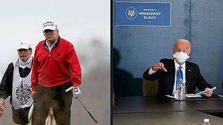 Presidente em exercício continua a jogar golfe, presidente eleito prepara transição