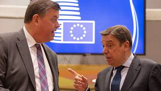 El ministro de Agricultura español Luis Planas Puchades, derecha, habla con el ex ministro de Agricultura danés Mogens Jensen