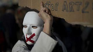 یک معترض به ماده ۲۴ پیش نویس قانون امنیتی فرانسه؛ مارسی، فرانسه