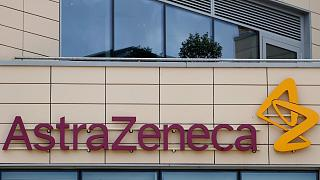 A general view of AstraZeneca offices and the corporate logo in Cambridge, England, Saturday, July 18, 2020