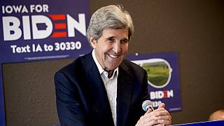 In this Jan. 9, 2020, file photo former Secretary of State John Kerry smiles while speaking at a campaign stop to support Democratic presidential candidate Joe Biden.