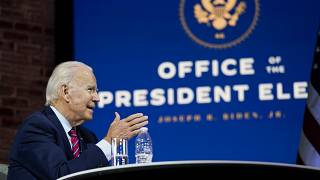 President-elect Joe Biden speaks during a meeting at The Queen theatre Monday, Nov. 23, 2020, in Wilmington, Del. (AP Photo/Carolyn Kaster)
