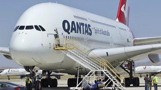 A Qantas Airbus A380 arrives at Southern California Logistics Airport, July 2020.