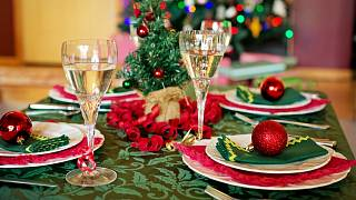 A table is set up ready for Christmas dinner in the UK.