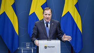 Sweden's Prime Minister Stefan Lofven speaks during a news conference on the coronavirus (Covid-19) pandemic situation at the government headquarters in Stockholm, Sweden