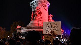 """Manifestation place de la République à Paris sur fond de controverse autour du texte sur la """"sécurité globale"""", le 24/11/2020"""