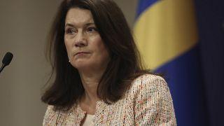وزيرة الخارجية السويدية خلال مؤتمر صحفي في أنقرة. 2020/10/13