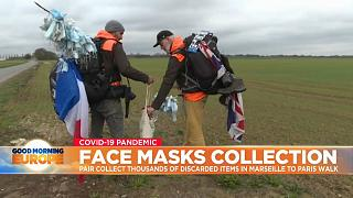Duo walk from Marseille to Paris collecting face masks