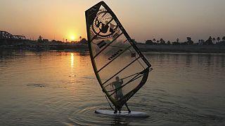 نهر دجلة في منطقة الأعظمية بالعاصمة العراقية بغداد