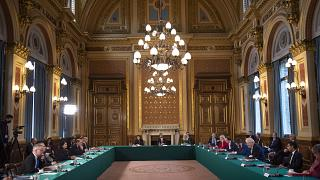 UK Prime Minister Boris Johnson leads a Cabinet meeting at the Foreign and Commonwealth Office, London, Nov. 3, 2020. FCO minister Baroness Sugg has resigned over budget cuts.