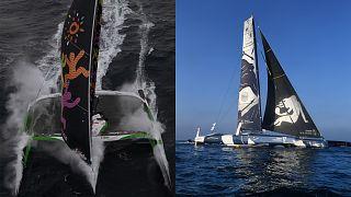 """Les deux multicoques engagés dans le Trophée Jules Verne 2020 : """"Sodebo"""" à gauche, """"Gitana-Edmond de Rotschild"""" à droite. Photos d'archive"""