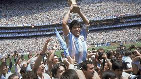 In this June 29, 1986 file photo, Diego Maradona celebrates winning the World Cup with Argentina after the team's 3-2 victory over West Germany in the final in Mexico City.