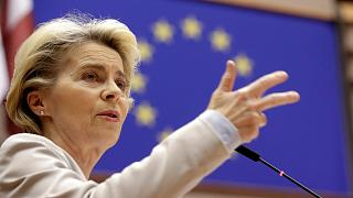 European Commission President Ursula von der Leyen speaks during a plenary session at the European Parliament in Brussels, Wednesday, Nov. 25, 2020.
