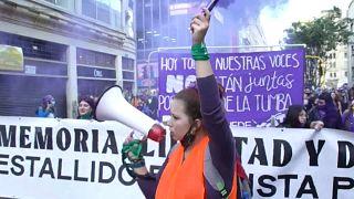 Manifestación en Colombia contra la violencia de género