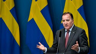 Sweden's Prime Minister Stefan Lofven gives a news conference on new restrictions to curb the spread of the coronavirus pandemic, in Stockholm, Sweden, Nov. 11, 2020.