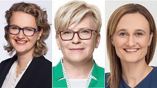 L-R: Ausrine Armonaite, Lithuania's new prime minister, Ingrida Simonyte, and Viktorija Cmilyte-Nielsen