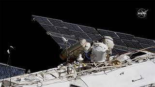 This photo provided by NASA shows Russian astronauts Sergey Ryzhikov, left and Sergey Kud-Sverchkov on a spacewalk outside of the ISS on Nov. 18, 2020