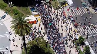 Aerial images show fans forming a long queue to see Diego Maradona's