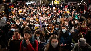 Protesters gather in Toulouse, France, during a demonstration against violence marking the International Day for the Elimination of Violence Against Women. November 25, 2020