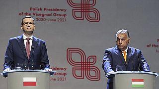 رئيسا وزراء المجر فيكتور أوربان وبولندا ماتيوس مورافيسكي / في لوبلين ، بولندا ، 19 سبتمبر 2020.