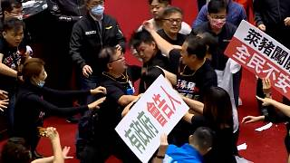 Fighting erupted in the Taiwanese parliament