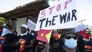 Az etiópiai fegyveres konfliktus elleni tiltakozások egyike