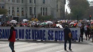 Manifestación a favor de la sanidad pública en Madrid