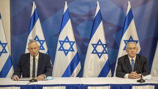 رئيس الوزراء الإسرائيلي بنيامين نتنياهو ووزير الدفاع الإسرائيلي بيني غانتس