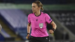 French referee Stephanie Frappart officiates during the Europa League Group G soccer match between Leicester City and Zorya Luhansk.